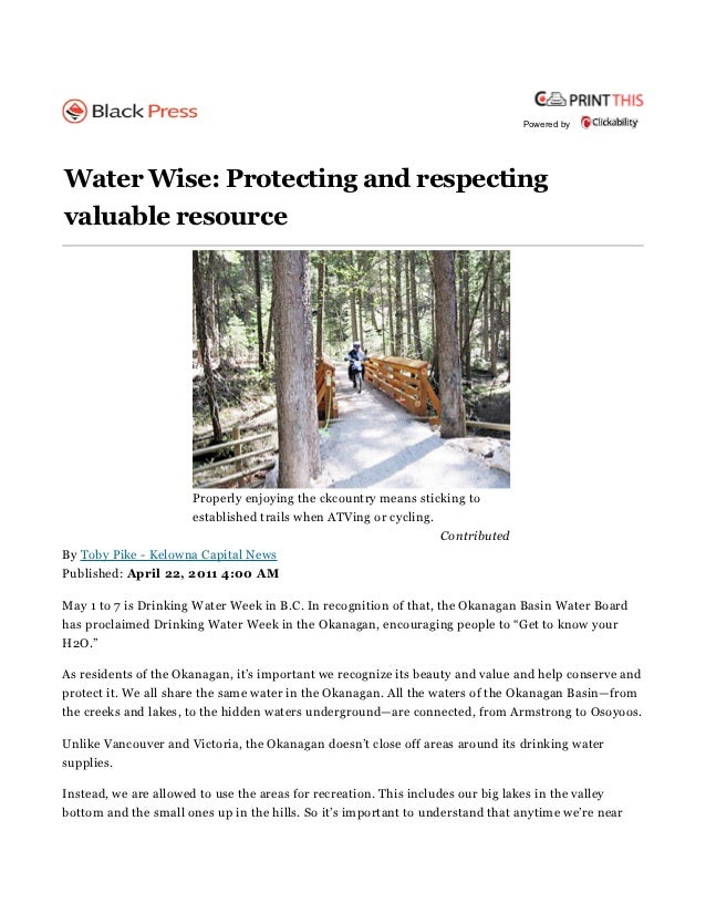 Powered byWater Wise: Protecting and respectingvaluable resource                      Properly enjoying the ckcountry mean...