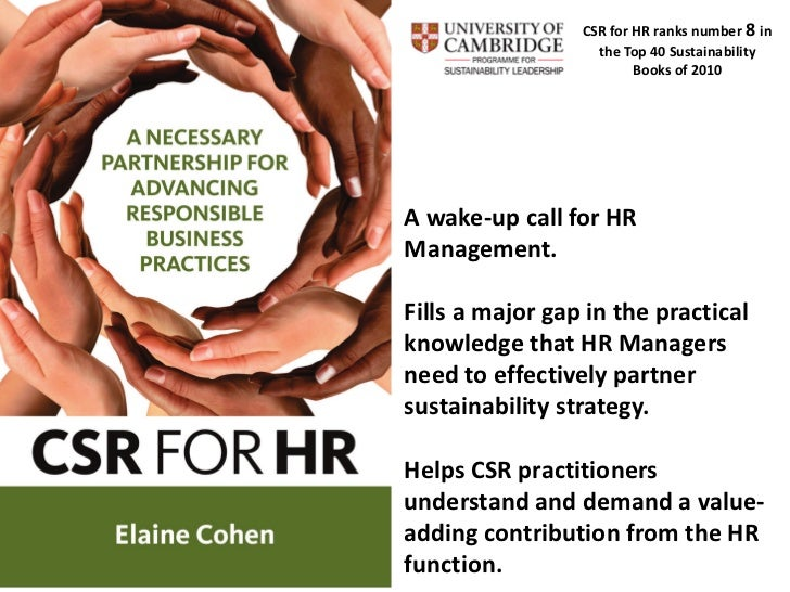 CSR for HR ranks number 8 in                   the Top 40 Sustainability                         Books of 2010A wake-up ca...