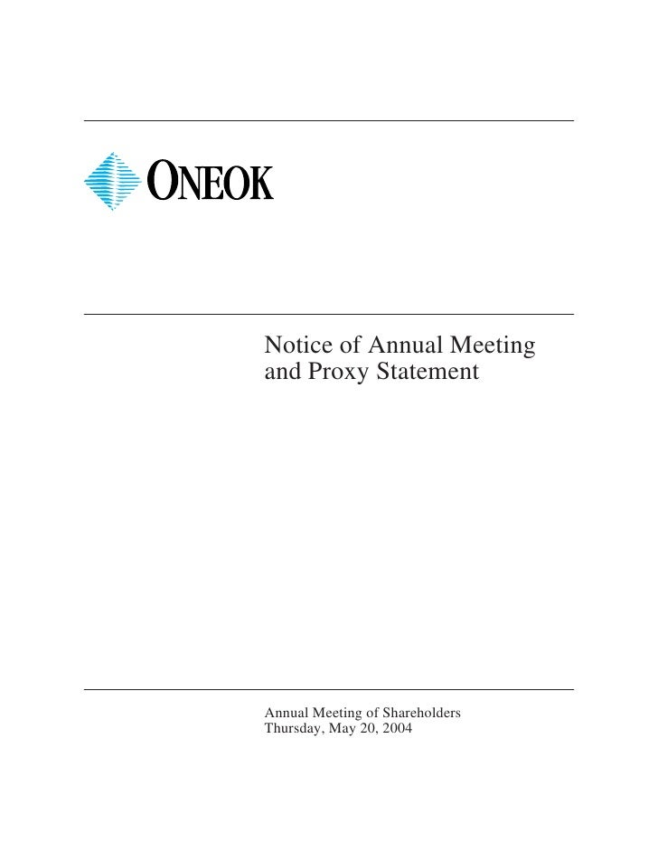 Notice of Annual Meeting and Proxy Statement     Annual Meeting of Shareholders Thursday, May 20, 2004