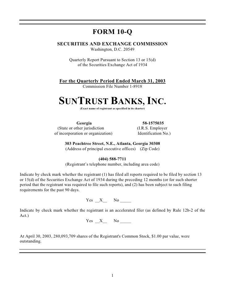 sun trust banks 1Q 2003 10-Q