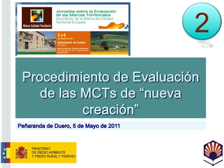 """Procedimiento de Evaluación de las MCTs de """"nueva creación"""""""