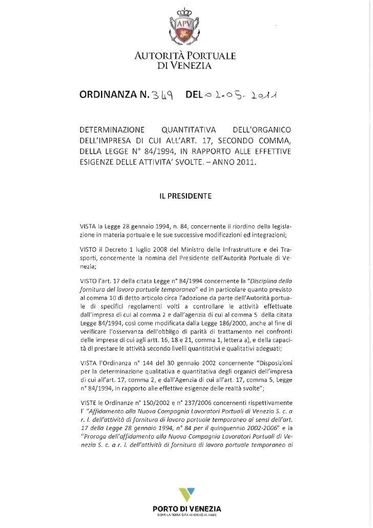 determinazione organico art.17 venezia