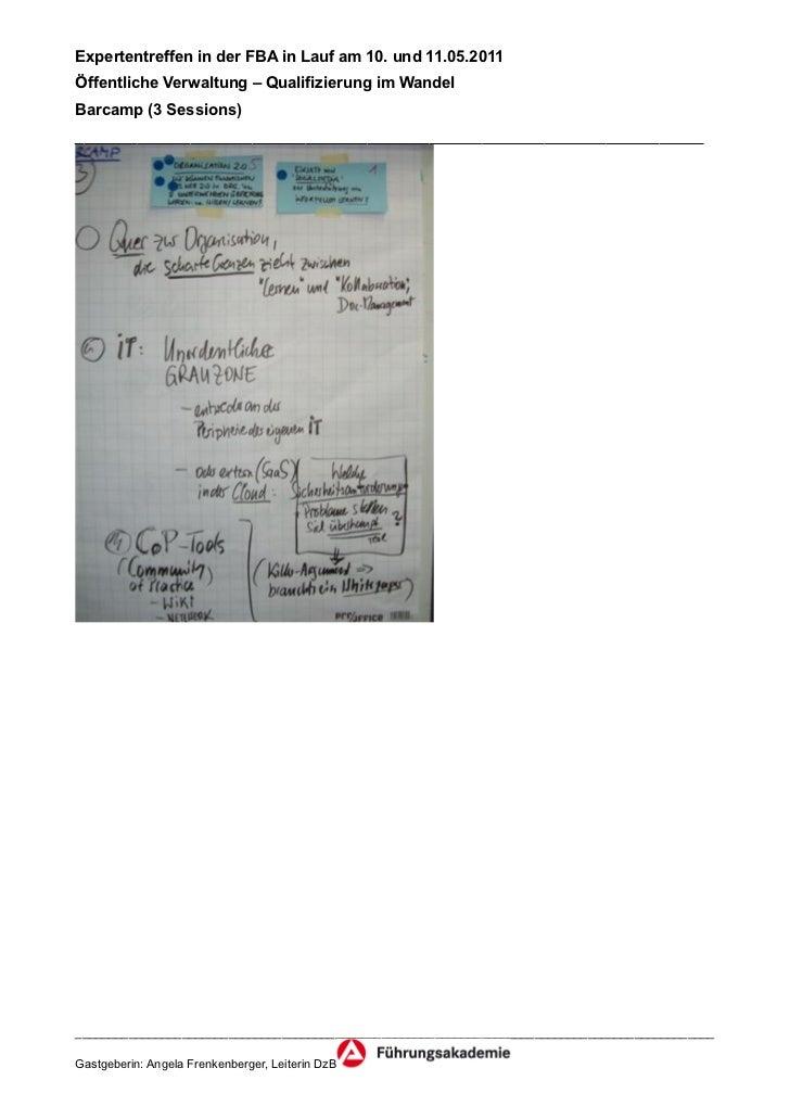 Expertentreffen in der FBA in Lauf am 10. und 11.05.2011Öffentliche Verwaltung – Qualifizierung im WandelBarcamp (3 Sessio...