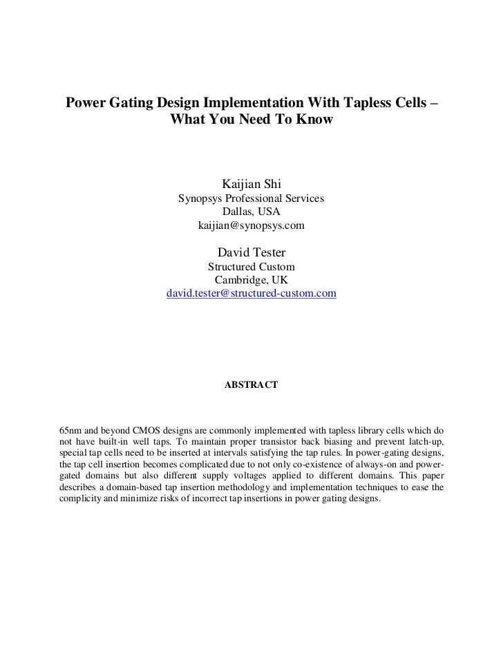 Power Gating Design Implementation With Tapless Cells –               What You Need To Know                               ...
