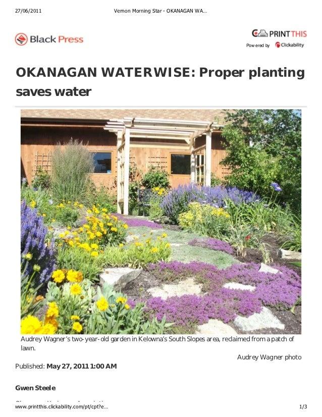 Okanagan Waterwise: Proper Planting Saves Water
