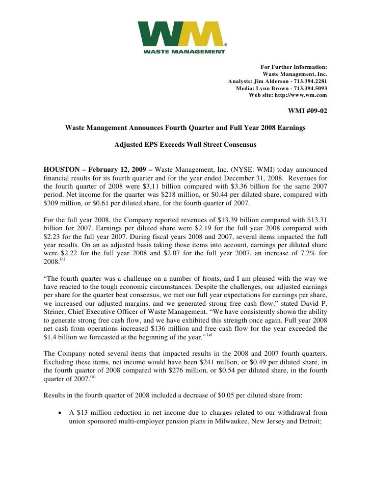 waste management  2009/02/12 Announces_4th_Qtr_and_Full_Year_2008_Earnings_(WMI_09-02)