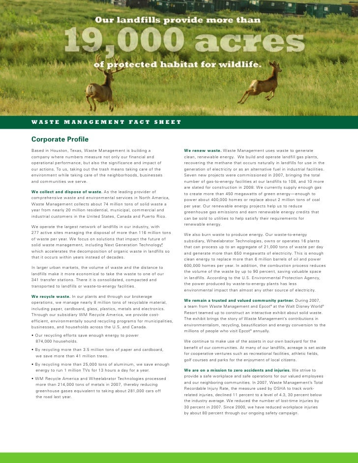 waste management Corporate Fact Sheet