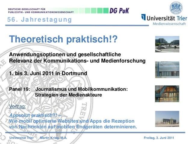 56. Jahrestagung  Medienwissenschaft  Theoretisch praktisch!? Anwendungsoptionen und gesellschaftliche Relevanz der Kommun...