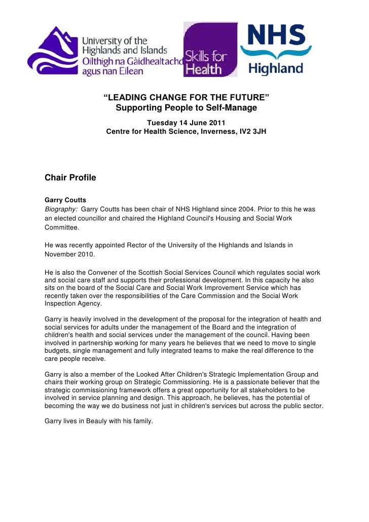 """""""LEADING CHANGE FOR THE FUTURE""""<br />Supporting People to Self-Manage<br />Tuesday 14 June 2011<br />Centre for Health Sci..."""