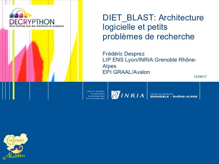 DIET_BLAST: Architecture logicielle et petits problèmes de recherche Frédéric Desprez LIP ENS Lyon/INRIA Grenoble Rhône-Al...