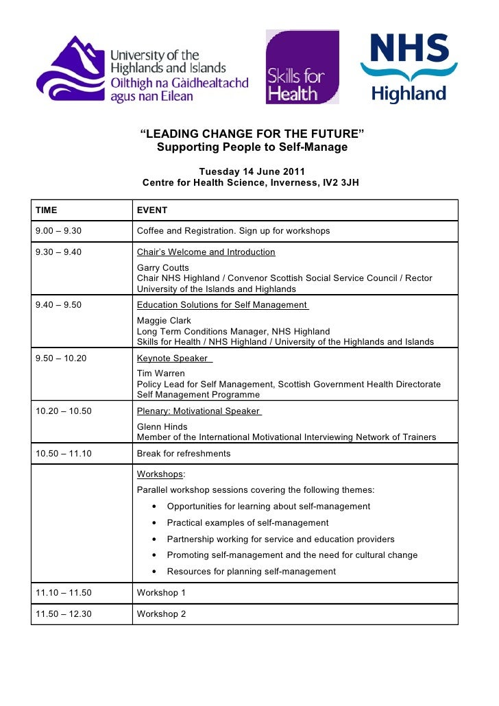 """""""LEADING CHANGE FOR THE FUTURE""""                  Supporting People to Self-Manage                             Tuesday 14 J..."""