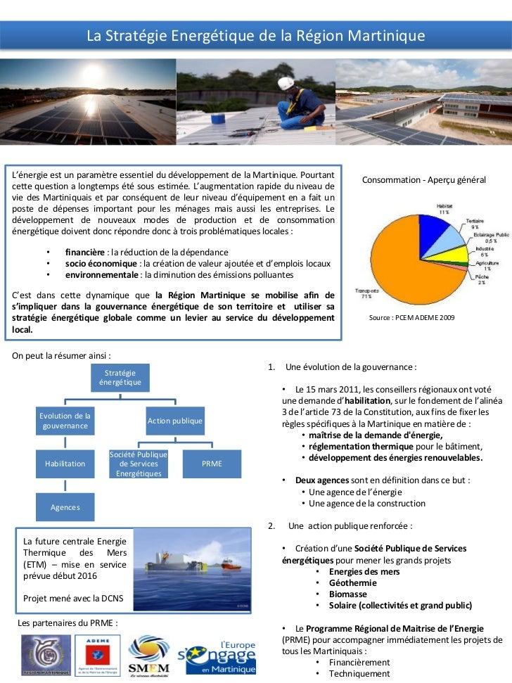 La Stratégie Energétique de la Région MartiniqueL'énergie est un paramètre essentiel du développement de la Martinique. Po...