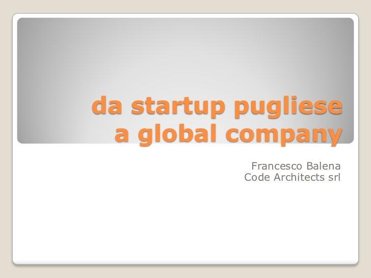 da startup pugliese a global company            Francesco Balena           Code Architects srl