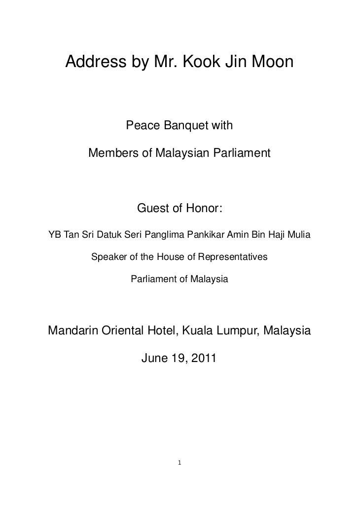 Kook Jin Moon Address to Members of Malaysia Parliament