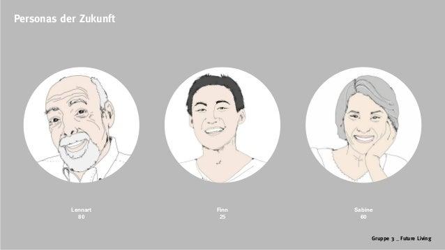 Gruppe 3 _ Future Living Personas der Zukunft Lennart 80 Finn 25 Sabine 60
