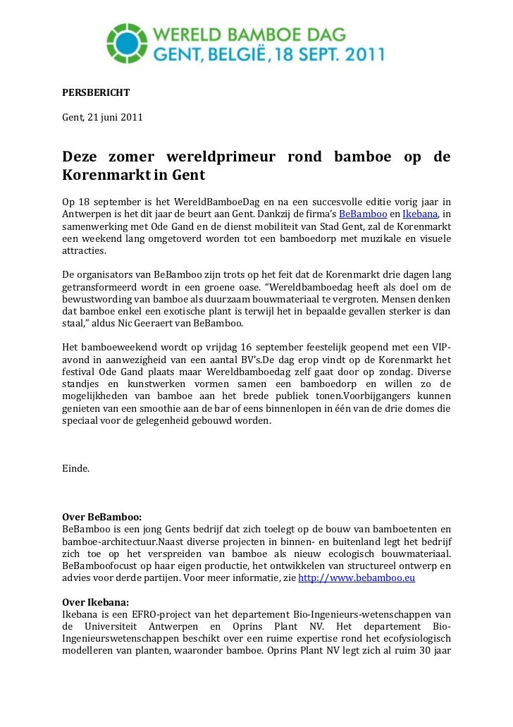 Wereldbamboedag, 18 september in Gent