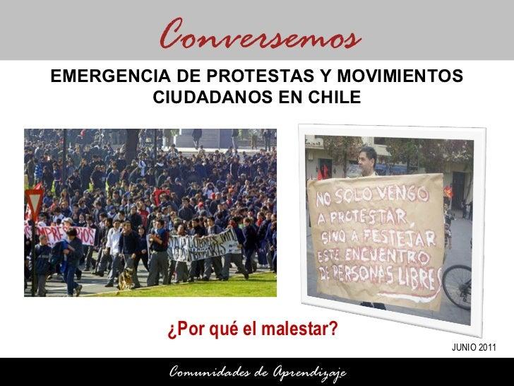 ¿Por qué el malestar? Conversemos Comunidades de Aprendizaje EMERGENCIA DE PROTESTAS Y MOVIMIENTOS CIUDADANOS EN CHILE JUN...