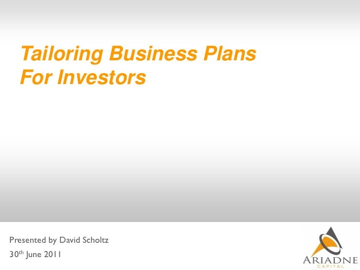 Tailoring business plans for investors