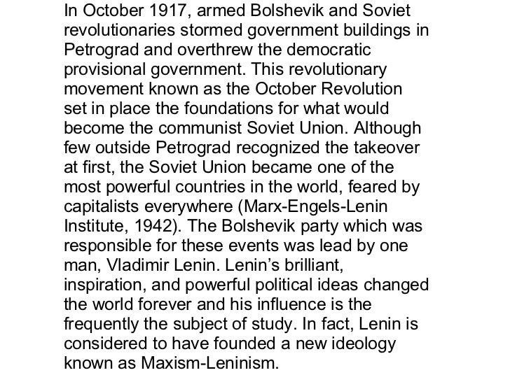 In October 1917, armed Bolshevik and Soviet revolutionaries stormed government buildings in Petrograd and overthrew the de...