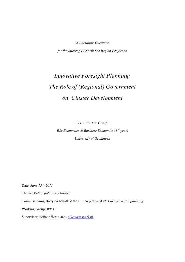 A Literature Overview                         for the Interreg IV North Sea Region Project on                        Innov...