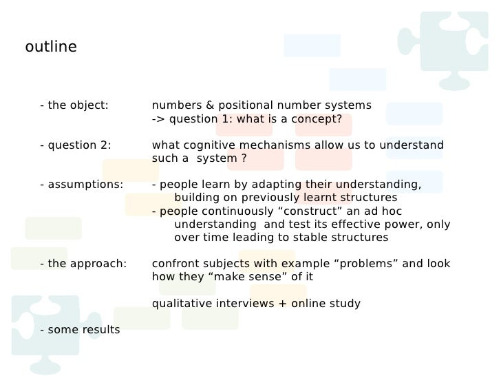 outline  - the object:     numbers & positional number systems                    -> question 1: what is a concept?  - que...