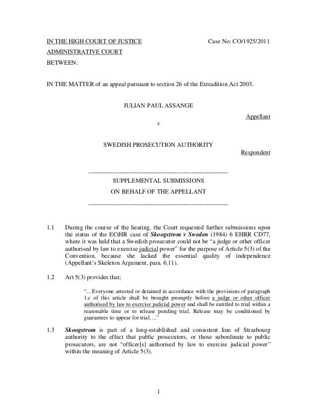 Mooting on feedyeti supplementary skeleton argument submitted by the appellant julian assange 110722 1 638 feedyeti altavistaventures Images