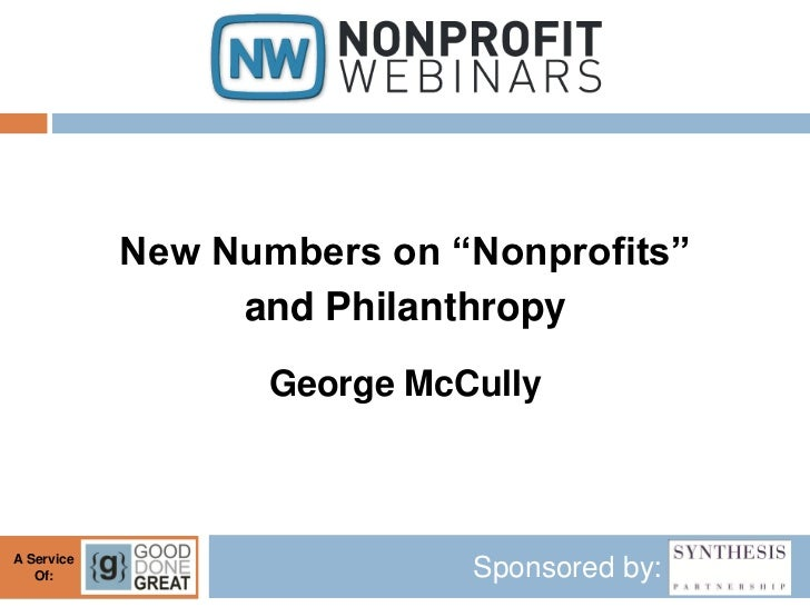 "New Numbers on ""Nonprofits"" and Philanthropy"
