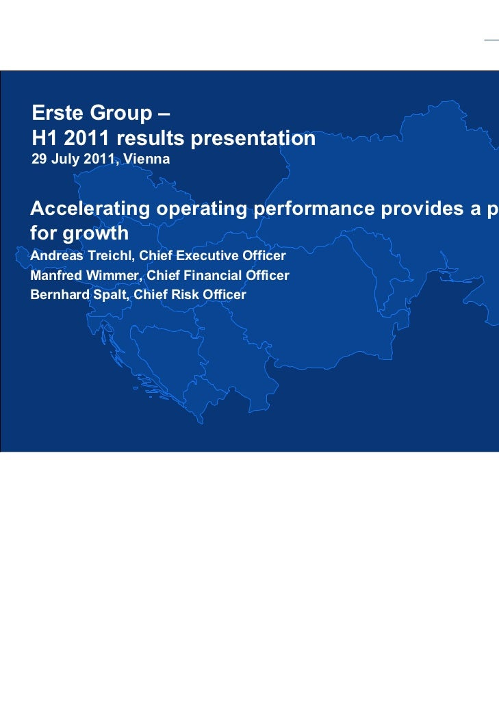 Erste Group - H1 2011 results presentation 29.07.2011