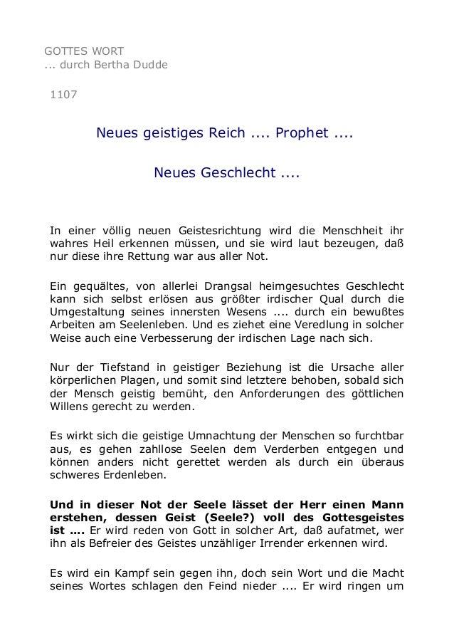 GOTTES WORT ... durch Bertha Dudde 1107  Neues geistiges Reich .... Prophet .... Neues Geschlecht ....  In einer völlig ne...