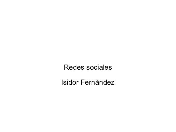 Redes sociales Isidor Fernàndez