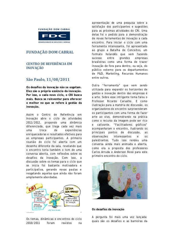 Relatório Centro de Referência em Inovação