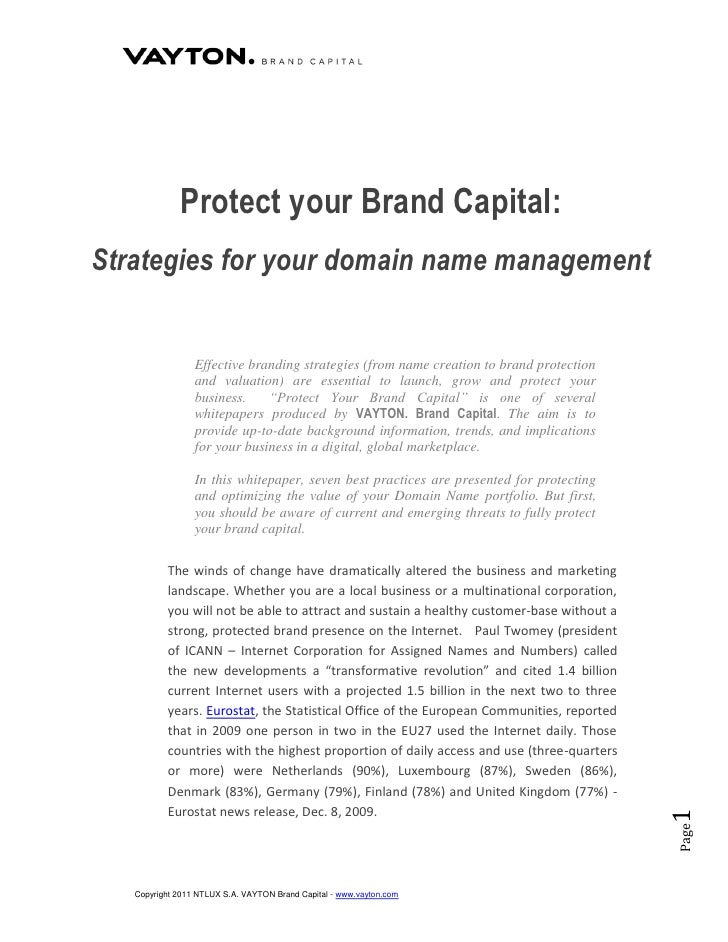 Protect your Brand Capital:Strategies for your domain name management                 Effective branding strategies (from ...