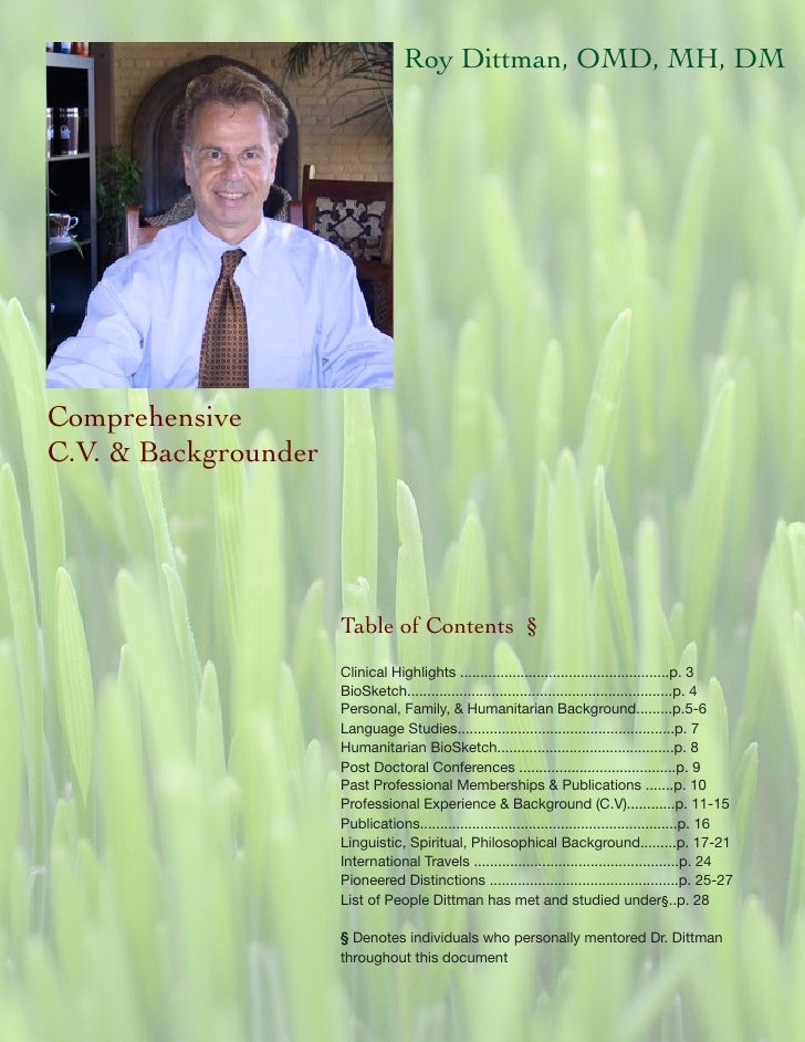 Roy Dittman, OMD, MH, DM     Comprehensive C.V. & Backgrounder                           Table of Contents §              ...