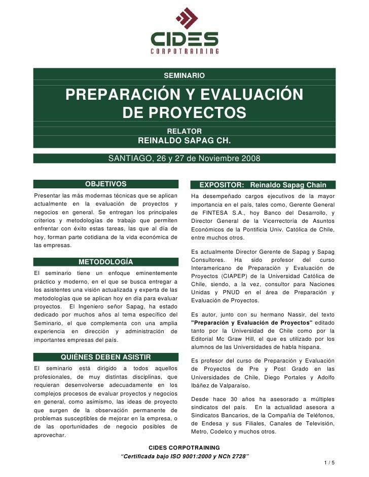 SEMINARIO              PREPARACIÓN Y EVALUACIÓN                 DE PROYECTOS                                              ...