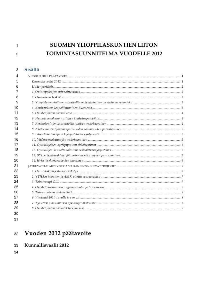1                             SUOMENYLIOPPILASKUNTIENLIITON 2                         TOIMINTASUUNNITELMAVUODELLE2012...