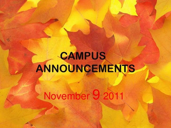 CAMPUSANNOUNCEMENTS November 9 2011