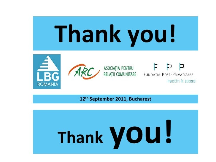 Thank you!  12th September 2011, BucharestThank         you!