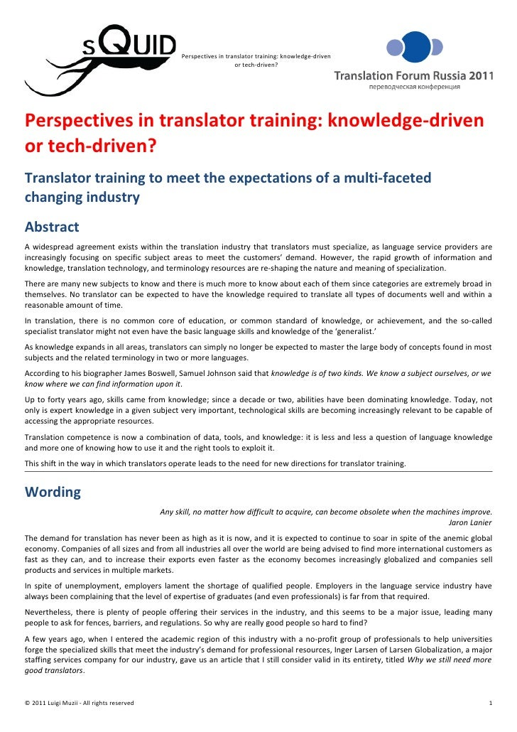 Perspectives in translator training: knowledge-driven or tech-driven?