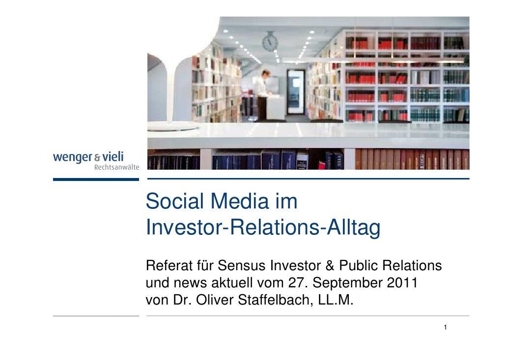 Social Media imInvestor-Relations-AlltagReferat für Sensus Investor & Public Relationsund news aktuell vom 27. September 2...