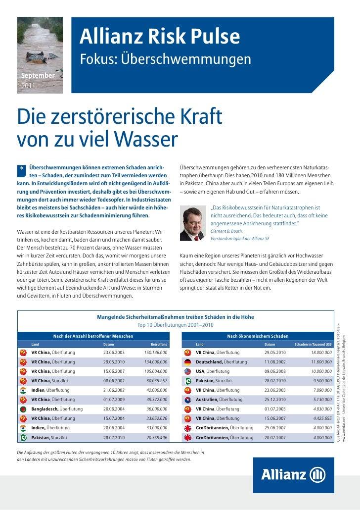 Allianz Risk Pulse                                 Fokus: Überschwemmungen  September  2011Die zerstörerische Kraftvon zu ...
