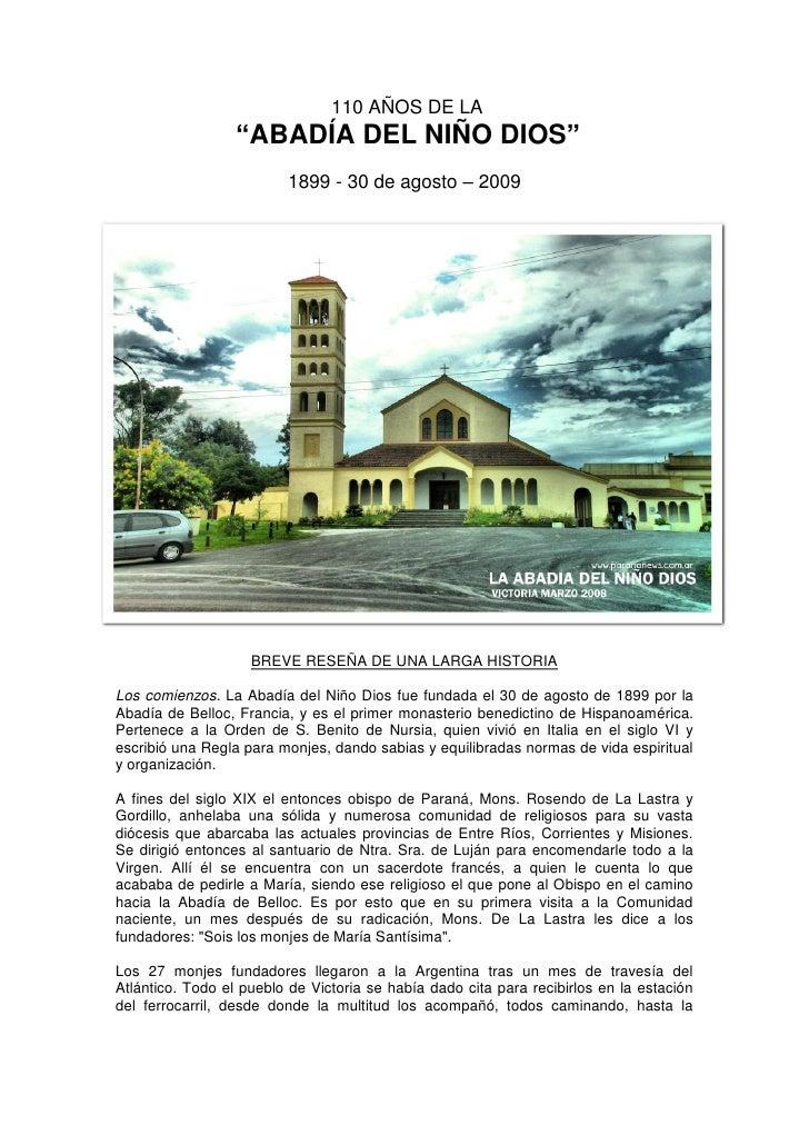 """110 AÑOS DE LA                   """"ABADÍA DEL NIÑO DIOS""""                          1899 - 30 de agosto – 2009               ..."""