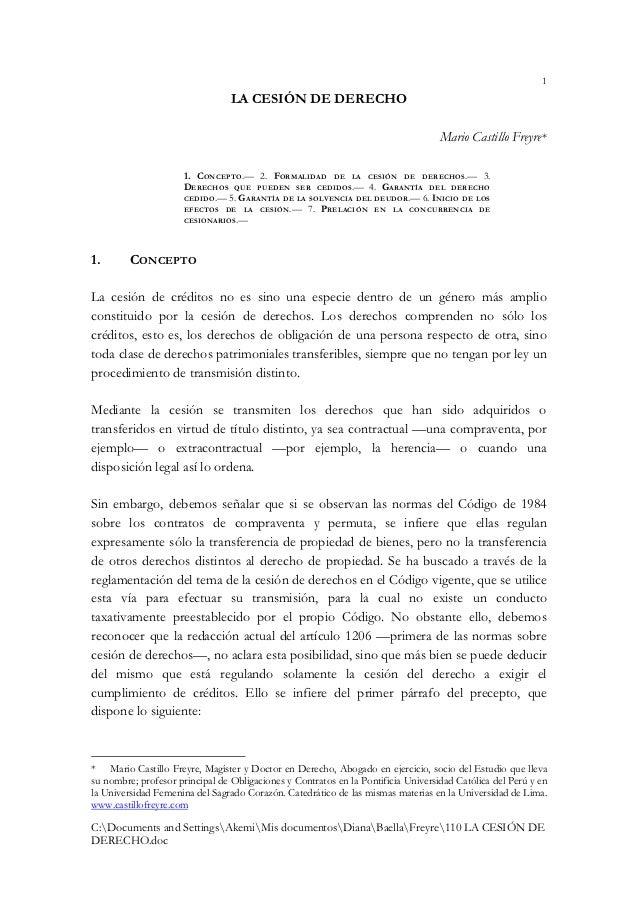 1                                 LA CESIÓN DE DERECHO                                                                    ...