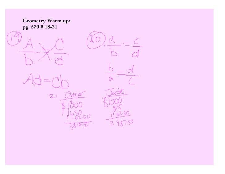 Geometry Warm up: pg. 570 # 18-21