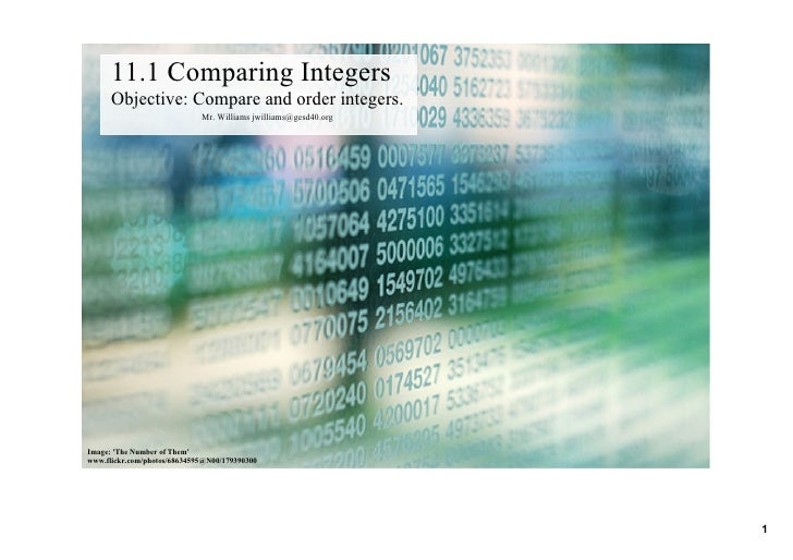 11.1ComparingIntegers       Objective:Compareandorderintegers.                              Mr.Williamsjwilliams@g...