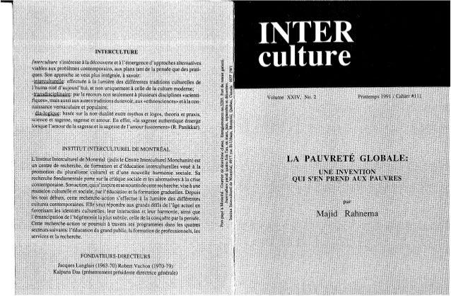 111 la pauvreté globale- une invention qui s'en prend aux pauvres. majid rahnema. (document à télécharger en format pd...