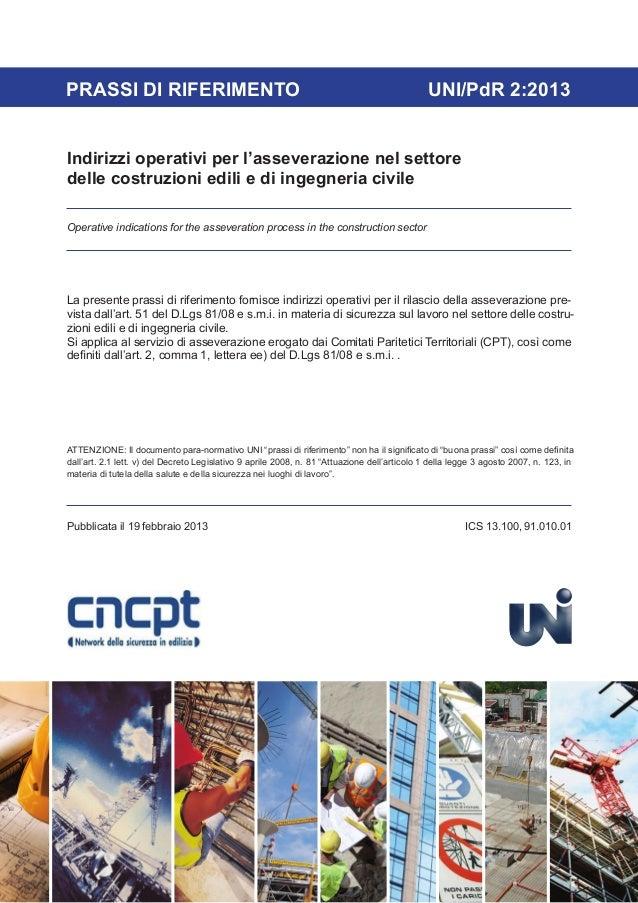 PRASSI DI RIFERIMENTO                                                                         UNI/PdR 2:2013Indirizzi oper...