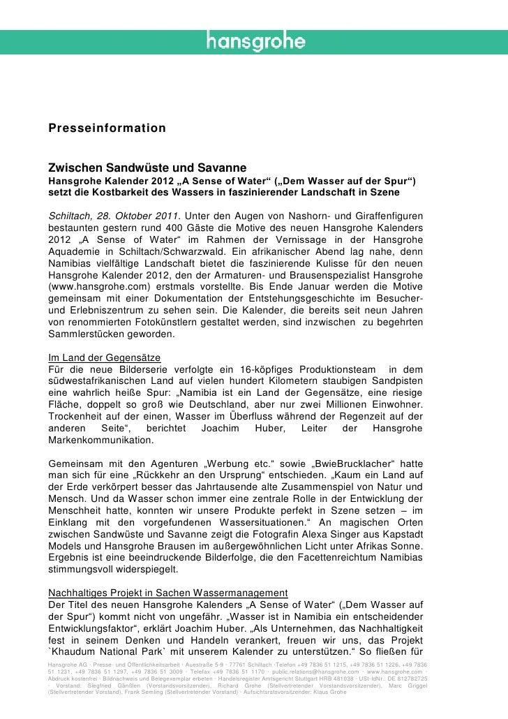 """PresseinformationZwischen Sandwüste und SavanneHansgrohe Kalender 2012 """"A Sense of Water"""" (""""Dem Wasser auf der Spur"""")setzt..."""