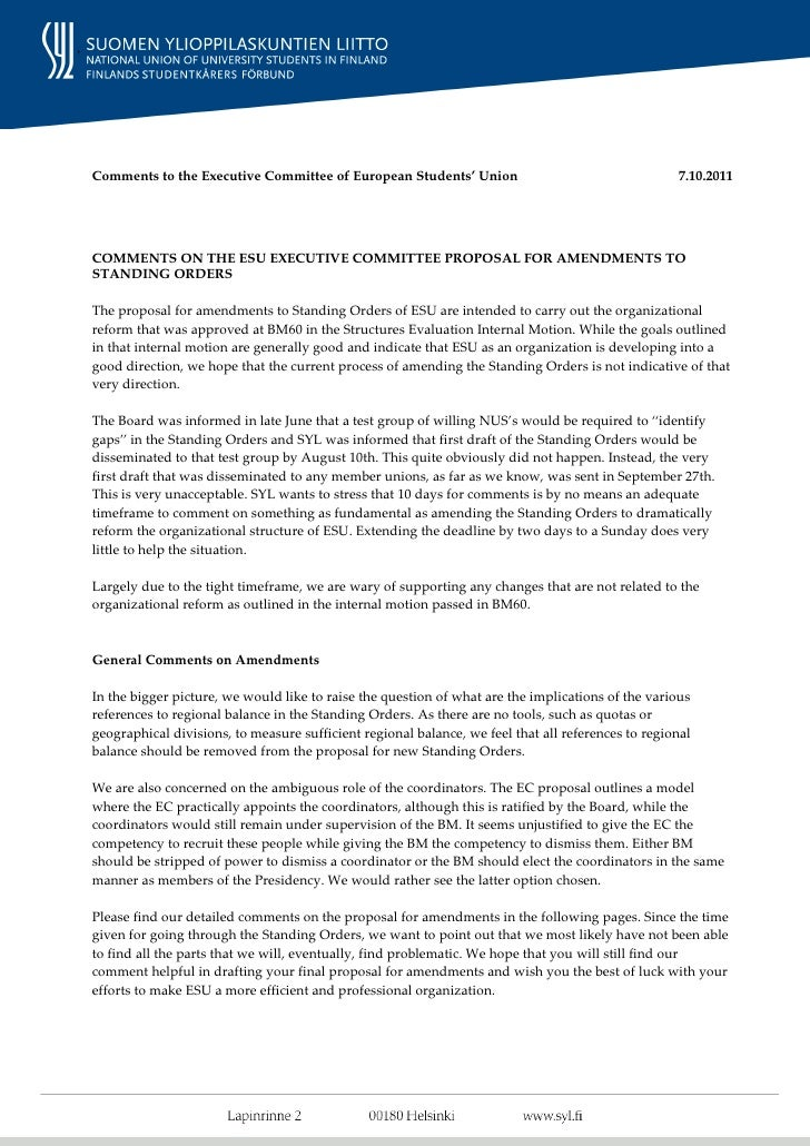 SYL Comments on ESU Executive Committee Proposal for Amendments to ESU Standing Orders