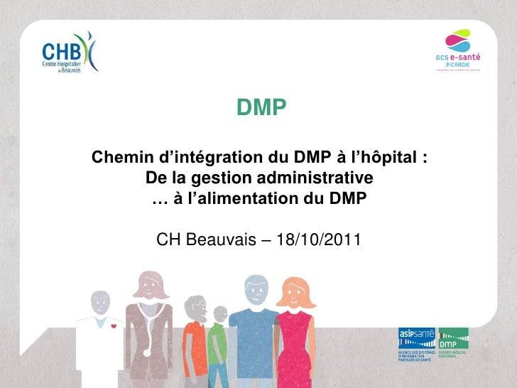 DMPChemin d'intégration du DMP à l'hôpital :     De la gestion administrative      … à l'alimentation du DMP       CH Beau...