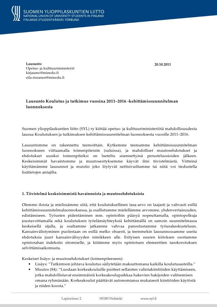 SYL:n lausunto Koulutus ja tutkimus vuosina 2011–2016 -kehittämissuunnitelman luonnoksesta